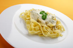 Pasta with cheese sauce Royalty Free Stock Images