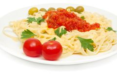 Pasta with cheese and sauce Stock Photos