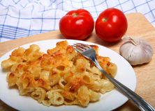 Pasta in cheese sauce horizontal Stock Photo