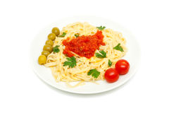 Pasta with cheese and sauce of peppers, tomatoes Stock Photos