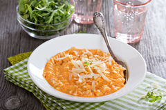 Pasta in cheesy roasted bell peppers sauce Royalty Free Stock Photography