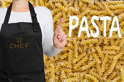 Pasta Chef with noodle background concept template Stock Image