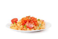 Pasta with cherry tomatoes Royalty Free Stock Photo