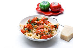 Pasta with cherry tomatoes and basil Stock Image
