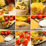 Pasta and cherry tomatoes, collage Royalty Free Stock Image