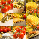 Pasta and cherry tomatoes, collage Stock Images