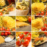Pasta and cherry tomatoes, collage Royalty Free Stock Photography