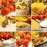 Pasta and cherry tomatoes, collage. From several images Royalty Free Stock Photos