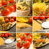 Pasta and cherry tomatoes, collage Stock Photos
