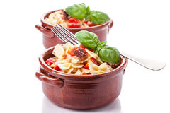 Pasta with cherry tomatoes and olives -  Stock Image