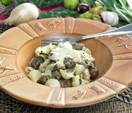 Pasta with chicken. And chestnuts on sage Stock Photo