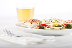 Pasta and chicken breast Stock Photography