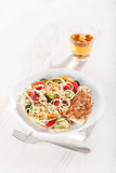 Pasta and chicken breast Stock Images