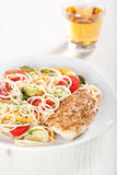 Pasta and chicken breast Royalty Free Stock Image