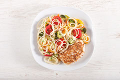 Pasta and chicken breast Royalty Free Stock Photos