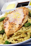 Pasta and chicken breast meal Stock Image