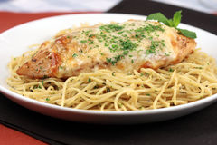 Pasta and chicken breast meal Royalty Free Stock Photos
