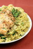 Pasta and chicken breast meal Royalty Free Stock Image