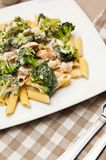Pasta with chicken and broccoli dish Royalty Free Stock Photo
