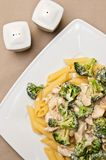 Pasta with chicken and broccoli dish Royalty Free Stock Images