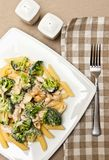 Pasta with chicken and broccoli dish Royalty Free Stock Image