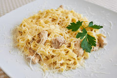 Pasta with chicken and cheese Stock Photos