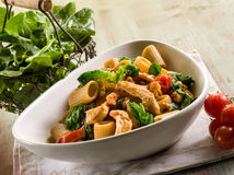 Pasta with chicken chest Royalty Free Stock Photo