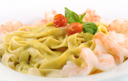 Pasta with chicken closeup Royalty Free Stock Photo