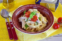 Pasta with chicken fillet, cream, onion. Royalty Free Stock Photo