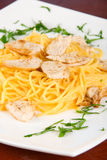 Pasta with chicken meat Stock Photo