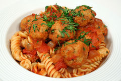 Pasta With Chicken Meat Balls Stock Images