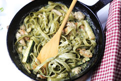 Pasta and chicken meat in cream sauce Stock Images