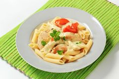 Pasta, chicken meat and cream sauce Stock Photography