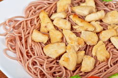 Pasta with chicken meat Stock Photography