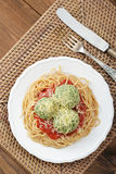 Pasta with chicken meatballs and sauce Stock Image
