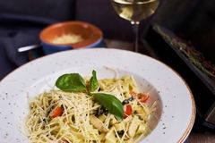 Pasta with chicken slices and wine Stock Photography