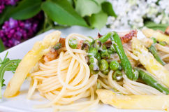 Pasta with chicken strips and summer vegetables Stock Photography