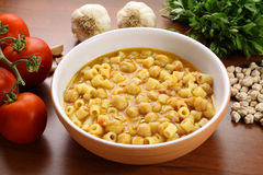 Pasta with chickpeas Stock Photos