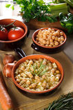 Pasta and chickpeas. Traditional Italian dish Royalty Free Stock Images