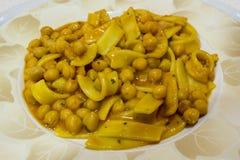 Pasta and chickpeas Stock Photos