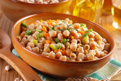 Pasta with chickpeas and vegetables Stock Photo