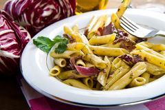 Pasta with chicory Stock Photo