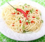Pasta with chilis Stock Images