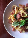 Pasta chilli bacon. Food from lunch Stock Photos