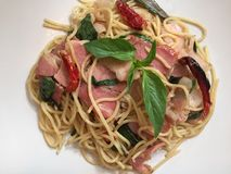 Pasta with chilli bacon. Spaghetti with chilli and bacon stock images