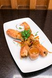 Pasta Chu Chee Kung de Fried Tiger River Prawn Red Curry fotos de stock