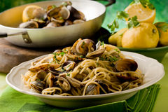 Pasta with Clams Royalty Free Stock Images