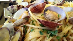 Pasta with clams Stock Photos