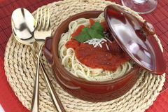 Pasta in a clay pot Royalty Free Stock Photos