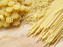 Pasta. Close up pasta on wooden dask Royalty Free Stock Image